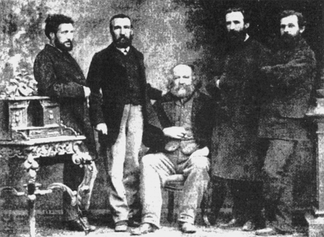 Mikhail Bakunin with fellow members of the IInternational Workingmen's Association in Basel