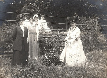 At front: Fawcett, Mary Blathwayt and Dr Mary Morris, Eagle House, Bath, 1910.  Annie and Kitty Kenney and Adele Pankhurst in the background.