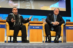 Rock star Bono with former U.S. Vice President Al Gore at the World Economic Forum in 2008.