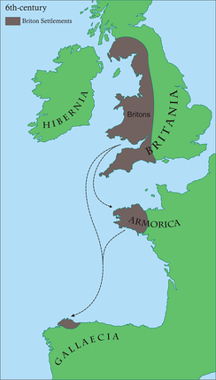 Britons migrated westwards during the Anglo-Saxon settlement of Britain