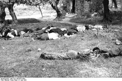 Dead civilians shot in reprisal by German paratroopers