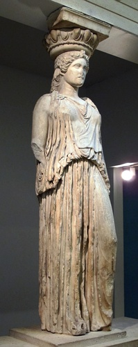 A caryatid from the Erechtheion, standing in contrapposto, displayed at the British Museum