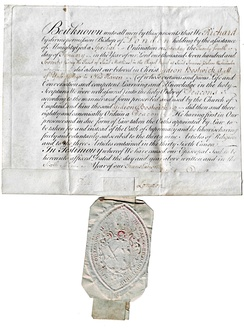 Certificate of ordination as a deacon in the Church of England given by Richard Terrick, the Bishop of London, to Gideon Bostwick. February 24, 1770