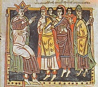 Reccared I and bishops. Council III of Toledo, 589. Codex Vigilanus, fol. 145, Biblioteca del Escorial.