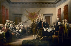 John Trumbull's Declaration of Independence, showing the Committee of Five in charge of drafting the Declaration in 1776 as it presents its work to the Second Continental Congress in Philadelphia
