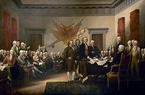 The artist's recreation of the Declaration signing with portraits of the entire Second Congress, as though all members were present. The Committee of Five are standing centered together presenting a parchment on the table.