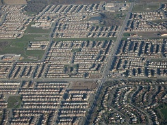 Sprawl in Milton, Ontario. This photograph is an example of Canadian suburban development.