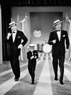 "Desi Arnaz, Richard Keith, and Maurice Chevalier in ""Lucy Goes To Mexico"", an episode of The Lucy-Desi Comedy Hour (1958)"