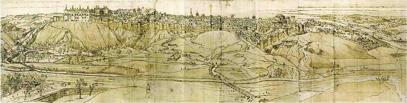 View of Madrid from the west, facing the Puerta de la Vega. Drawing by Anton van den Wyngaerde, 1562.