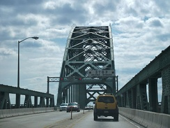 View from the roadway of the Tacony-Palmyra Bridge, across the upper Delaware River from Palmyra, New Jersey to Tacony section of Philadelphia with drawbridge signs
