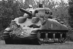 An inflatable dummy tank, modeled after the M4 Sherman
