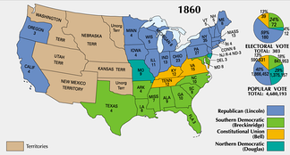 Presidential electoral votes by state in 1860
