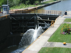 Upstream view of the downstream lock at Lock 32, Pittsford, New York