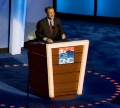 Bayh speaks during the third night of the 2008 Democratic National Convention in Denver, Colorado