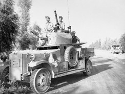 An RAF Fordson Armoured Car waits outside Baghdad while negotiations for an armistice take place