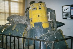 Part of the wreckage of 56-6693 (Article 360) on display in Moscow