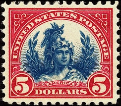 1923 Freedom, $5, blue and red