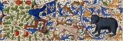 A detail from the margin of a page of a Late Gothic manuscript