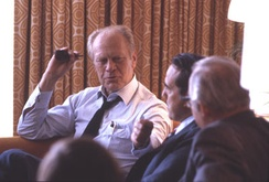 On July 16, 1980 (day 3 of the 1980 Republican National Convention) Gerald Ford consults with Bob Dole, Howard Baker and Bill Brock before making a decision to ultimately decline the offer to serve as Ronald Reagan's running mate