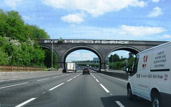 "The ""Give Peas a Chance"" viaduct is a landmark on the M25"