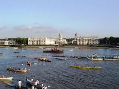 Boats at Greenwich at the end of the Great River Race