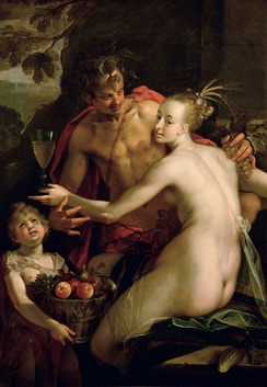 Bacchus, Ceres and Amor, (1595–1605). Oil on canvas by Hans von Aachen.