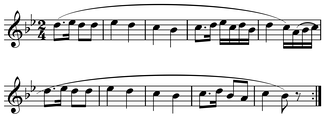 Period (two five-bar phrases) in Haydn's Feldpartita. Play (help·info) The second phrase is distinguished by an authentic cadence answering the half cadence at the end of the first phrase.[2] Note the use of slurs by the composer to indicate the intended phrasing.
