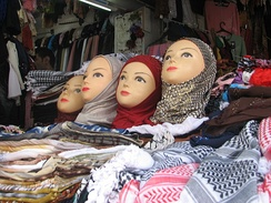 Women's headscarves for sale in Jerusalem.