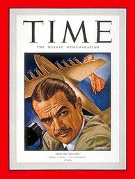 Hughes on the cover of Time magazine, July 1948 (with the Hughes H-4 Hercules in the background)