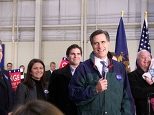 Romney at a rally on January 12, 2008