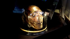 Jeremy Bentham's severed head, on temporary display at UCL