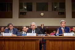 Secretary of State John Kerry, Secretary of Energy Ernest Moniz, and Secretary of the Treasury Jack Lew defended the Joint Comprehensive Plan of Action at a hearing of the Senate Foreign Relations Committee on July 23, 2015