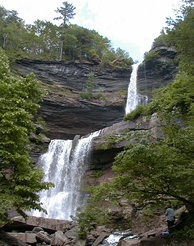 Kaaterskill Falls on Spruce Creek near Palenville, New York. One of the higher falls in New York. Two separate falls total 260 ft (79 m).