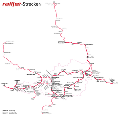 Map of the main network in Austria