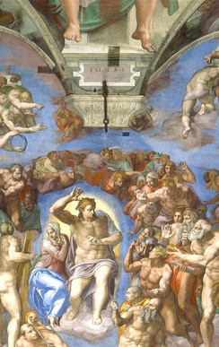 In his fresco The Last Judgment, Michelangelo depicted Christ below Jonah (IONAS) to qualify the prophet as his precursor.