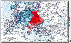 Lands ruled by Louis: Hungary and Poland united under Louis's reign are colored red, the vassal states and the temporarily controlled territories are coloured light red