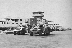 Israeli armored vehicles in Lydda airport after the town's capture by Israeli forces.