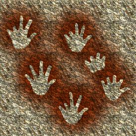 Негативные отпечатки рук с недостающими фалангами. Пещера Гаргас, («Пещера изуродованных рук»), Франция.