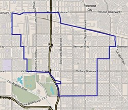 Boundaries of Van Nuys as drawn by the Los Angeles Times
