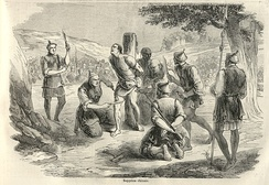 An 1858 illustration from the French newspaper, Le Monde Illustré, of the torture and execution of a French missionary in China by slow slicing