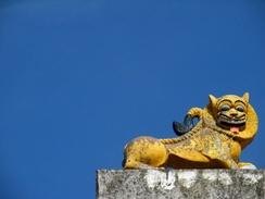 A lion sculpture atop the celebrated Venugopala Swamy temple
