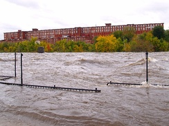 Merrimack River in flood, October 2005, Manchester, New Hampshire