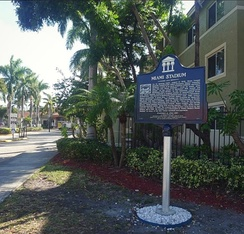 Historic marker placed at site of Miami Stadium on December 16, 2017 at the current Miami Stadium Apartments in Miami's Allapattah neighborhood