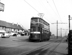 Tram on Middleton Ring Road, Lingwell Road tram stop, the terminus before the extension to Belle Isle was built in 1949.