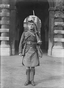 A Company Sergeant Major of the Canadian Scottish, in full marching order during World War I