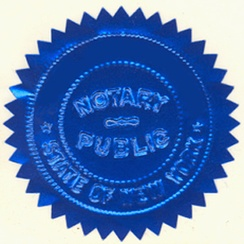 An embossed notary seal, formerly valid in the State of New York.