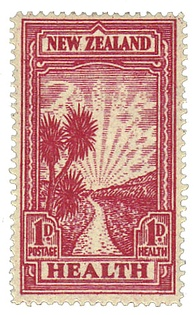 Postage stamp, New Zealand, 1933. Public health has been promoted – and depicted – in a wide variety of ways.