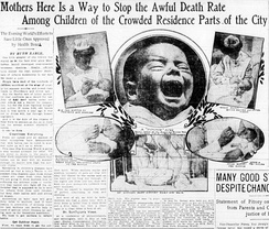 "1906 headline imploring parents to attend to the cleanliness of their infants, and to expose them to the ""clean air"" outdoors."