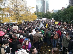 An Occupy Montreal demonstration on 15 October 2011