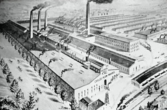 An artist's conception drawing of an aerial view of the Oliver Chilled Plow Works, South Bend, Indiana, c.1900.
